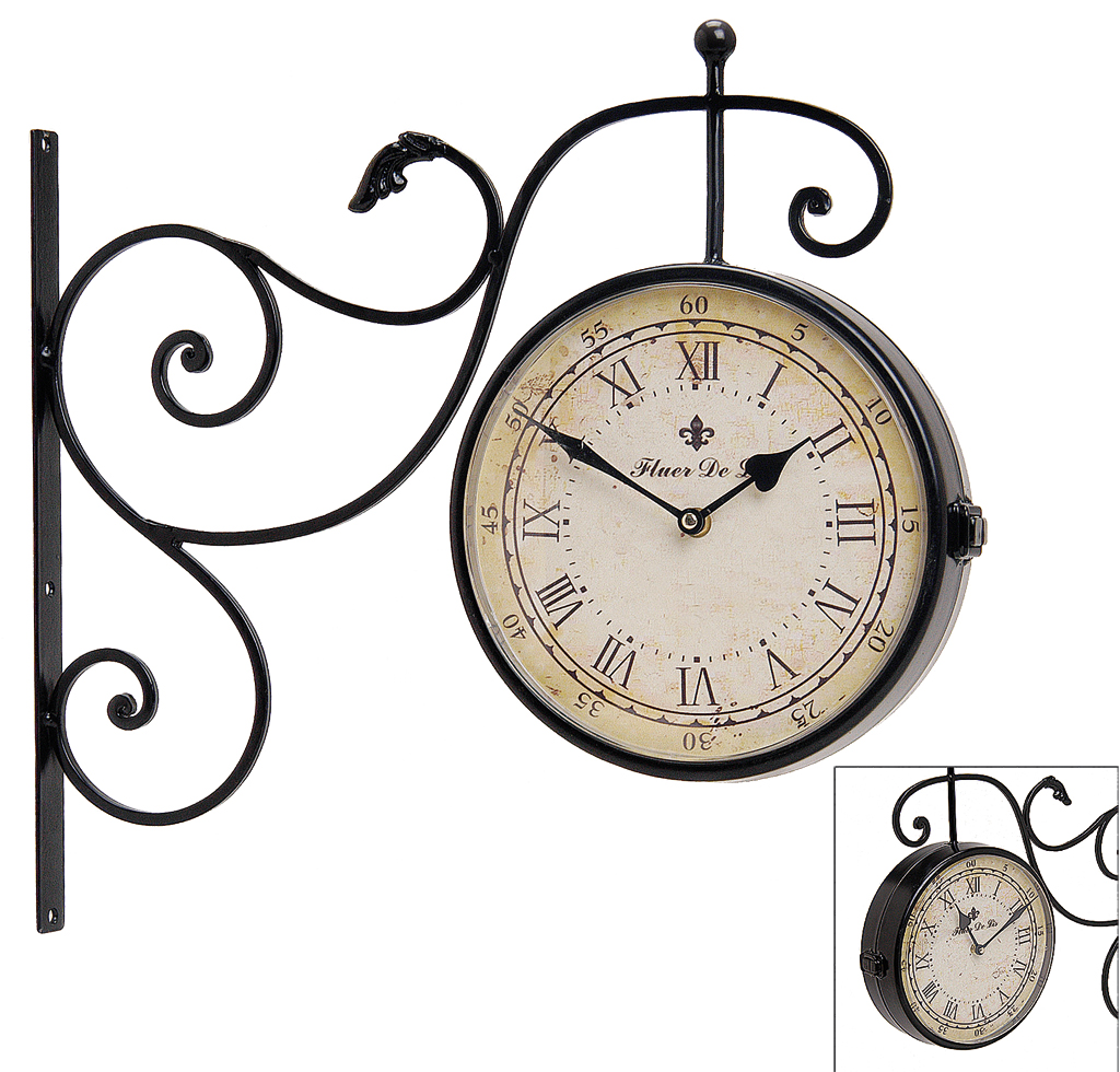 Wall clock metal double sided railway station clock retro for Train station style wall clock