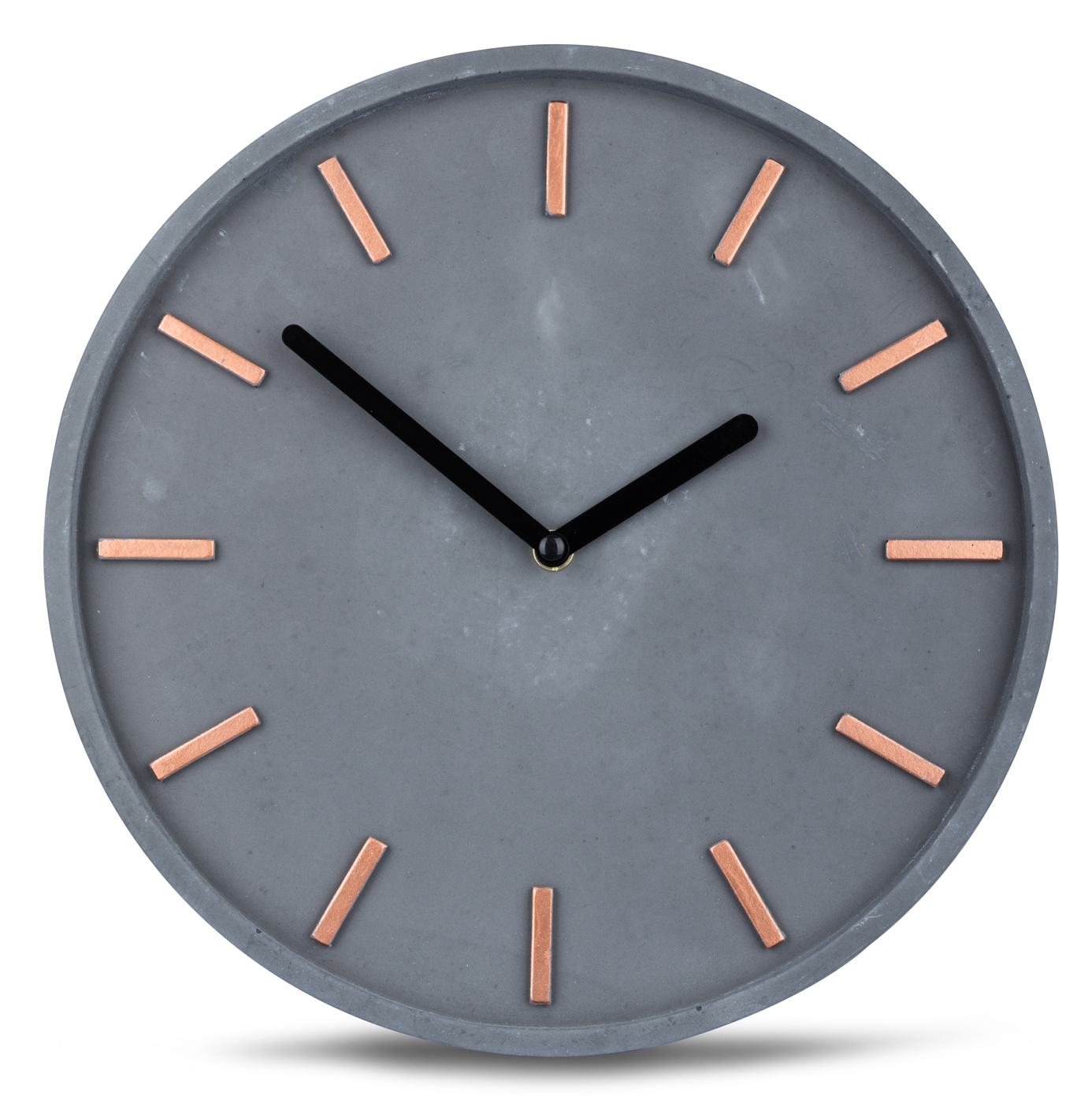 high quality concrete clock wall in grey copper time. Black Bedroom Furniture Sets. Home Design Ideas