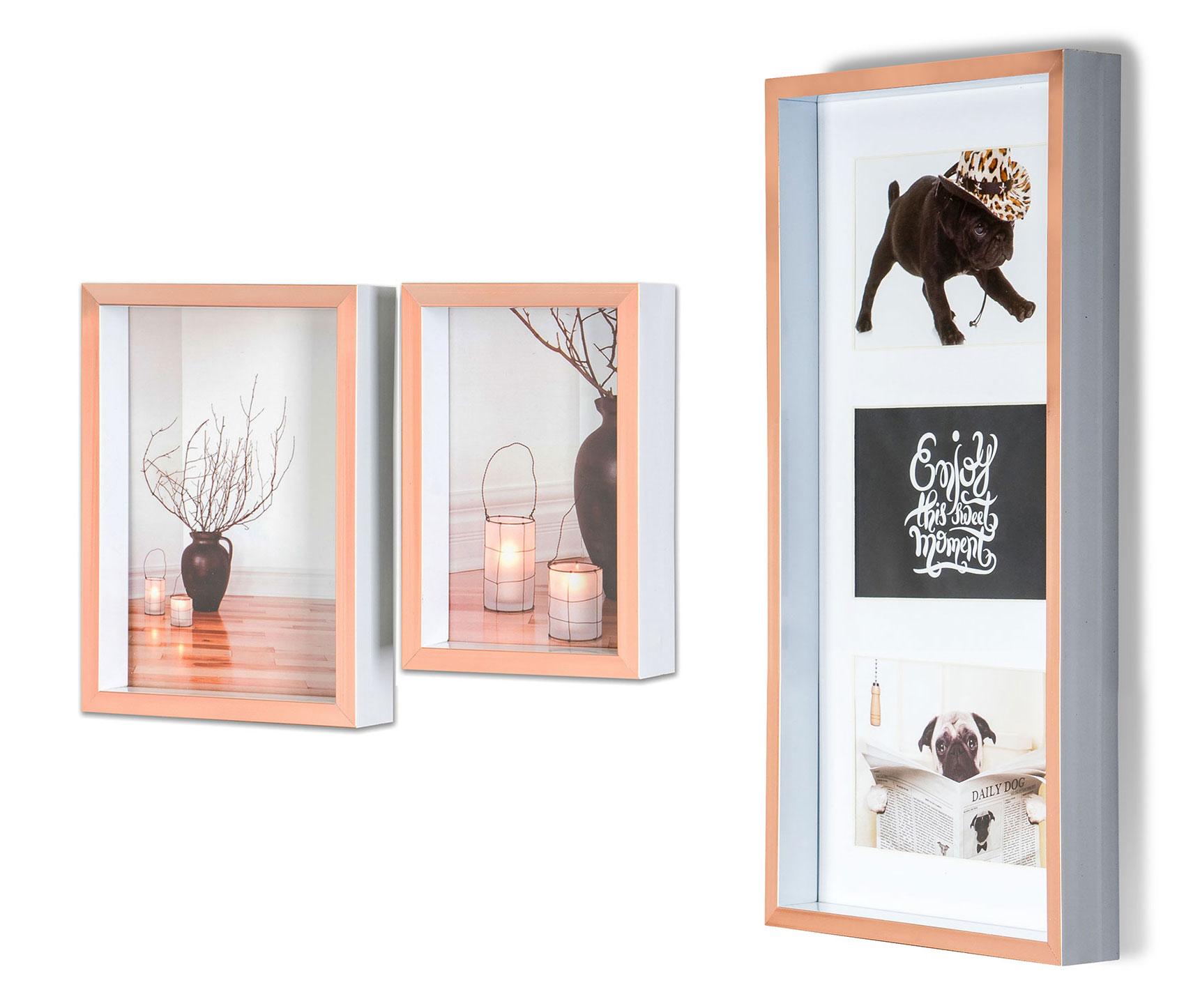 Levandeo Cadre Photo Collage 52x52cm 9 photos 13x18cm 2 Couleurs Bois MDF verre
