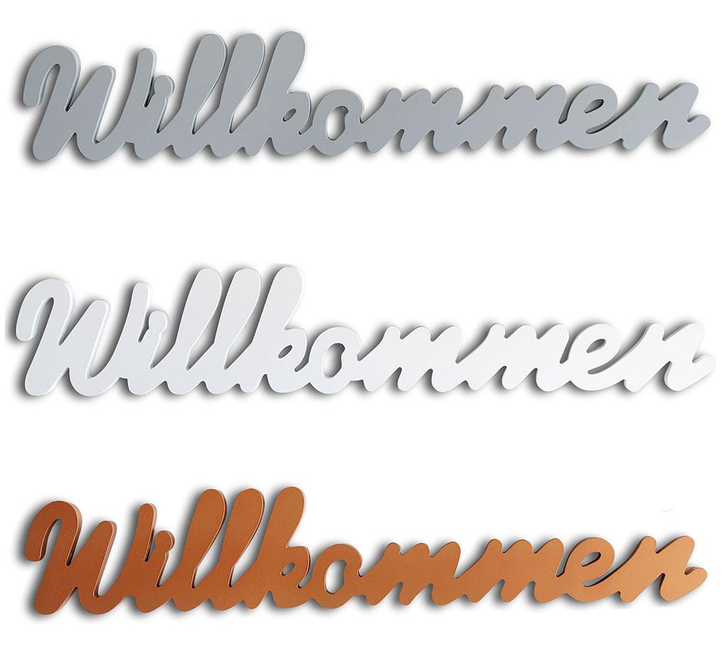 Schriftzug Willkommen silber weiß kupfer Holz zum Hängen Wandobjekt Deko