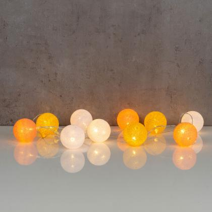 10er Lichterkette LED Kugeln Lampions Baumwolle Orange Weiß Cotton Warmweiß Deko