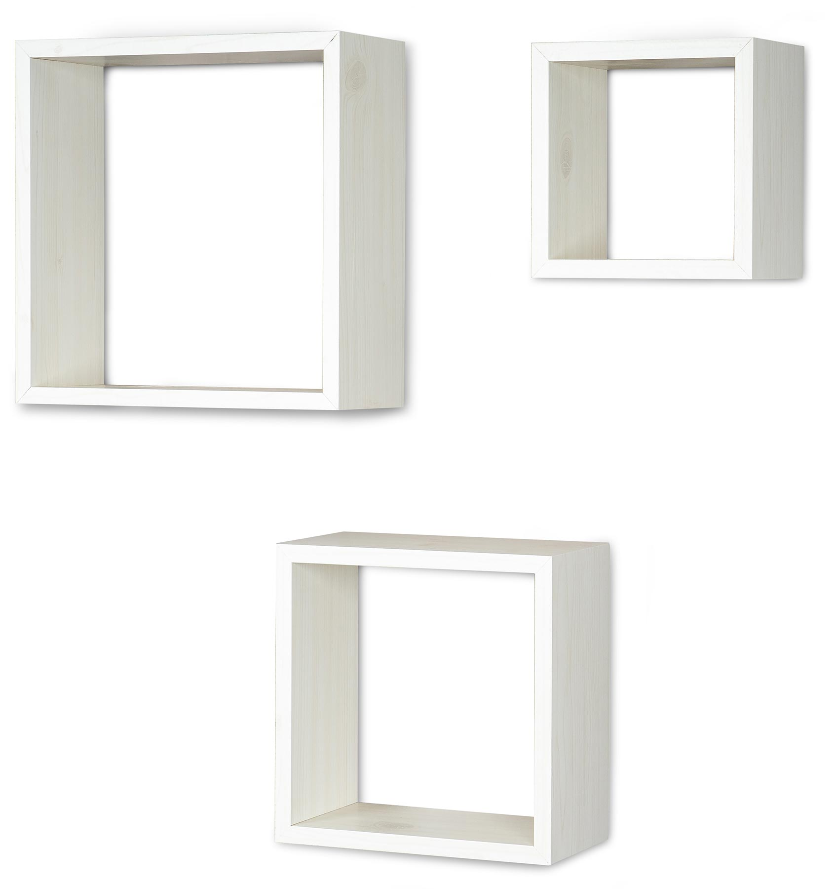 3er Set Cube Wandregal Regal 25cm 20cm 15cm Holz Ahorn Dekor Weiss