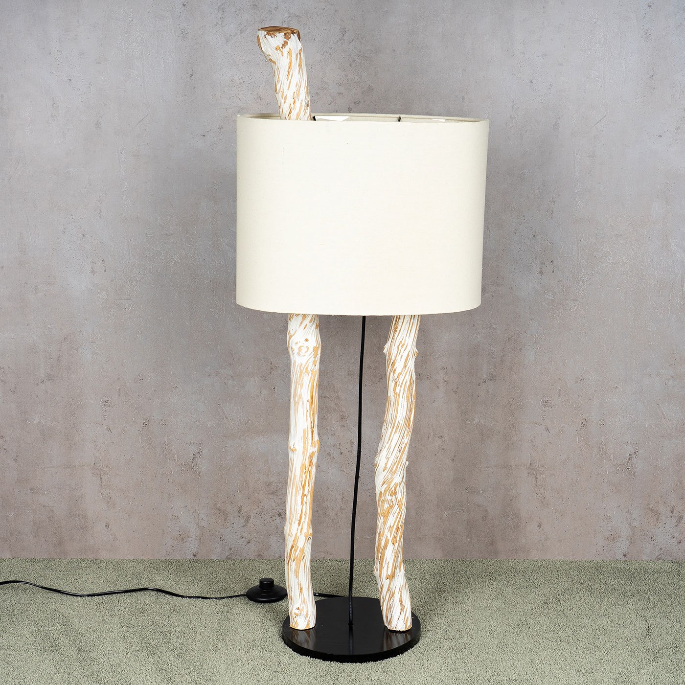 Stehlampe Hohe 95cm Treibholz Stehleuchte Holz Lampe Teakholz Weiss