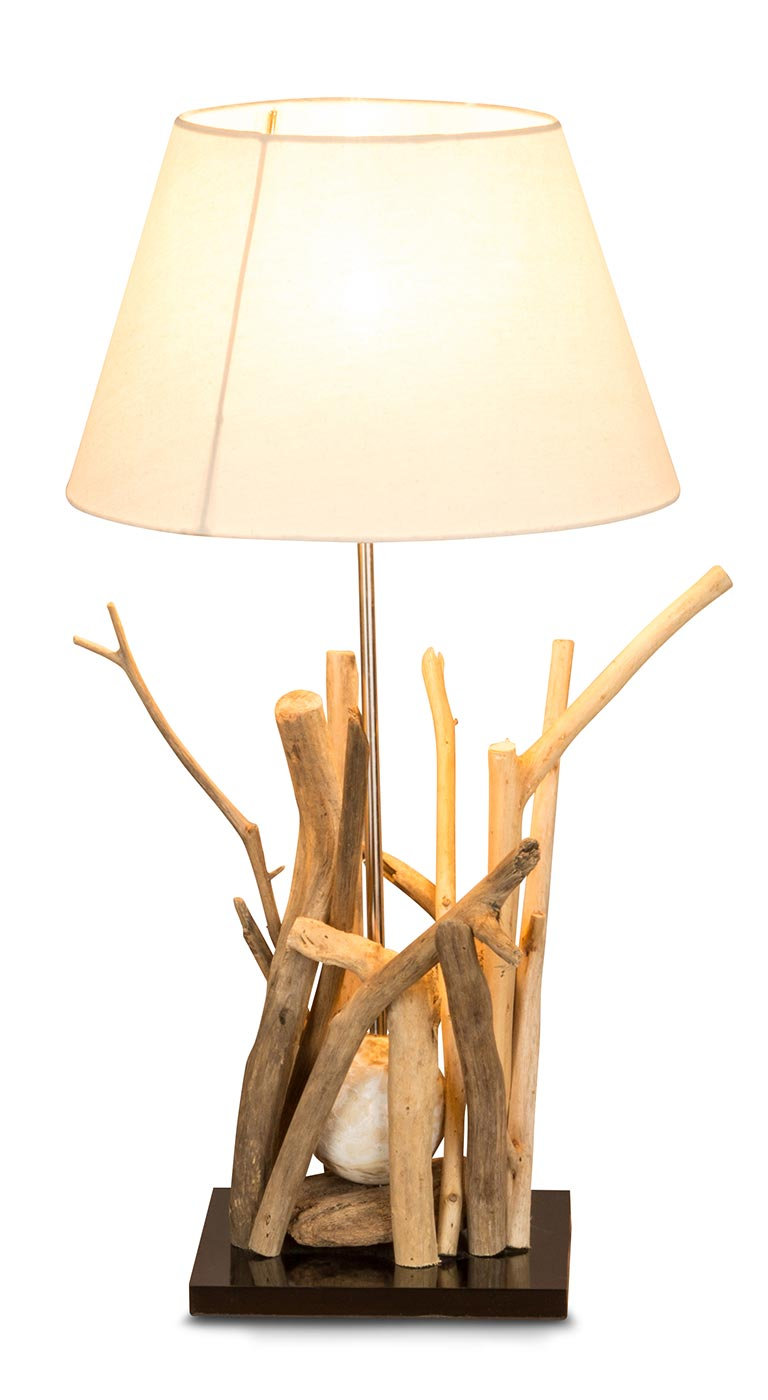 tischlampe aus holz treibholz 35x35x65cm lampe holzlampe unikat levandeo. Black Bedroom Furniture Sets. Home Design Ideas