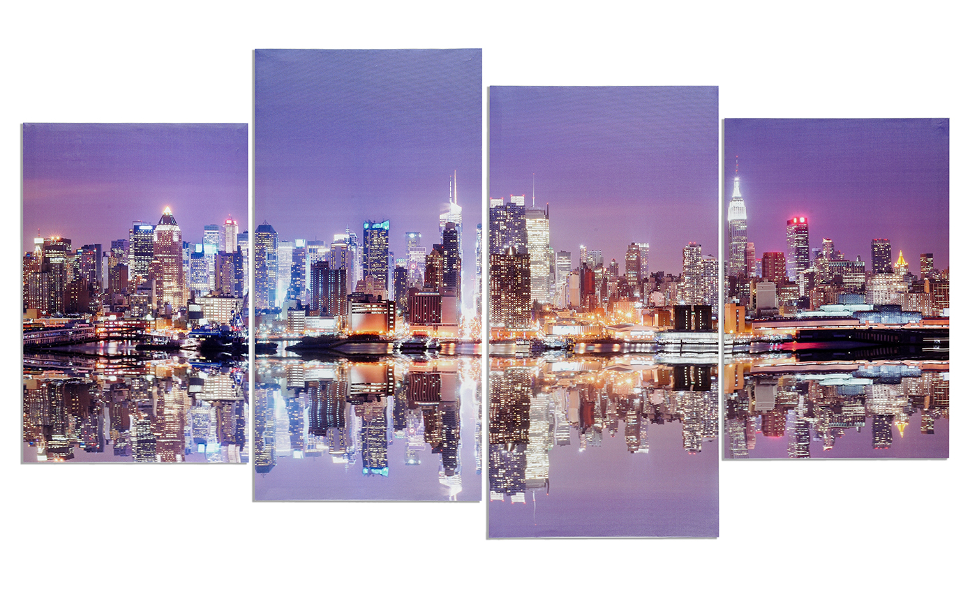 wandbild 4 teilig manhattan skyline new york usa amerika bild leinwand levandeo. Black Bedroom Furniture Sets. Home Design Ideas