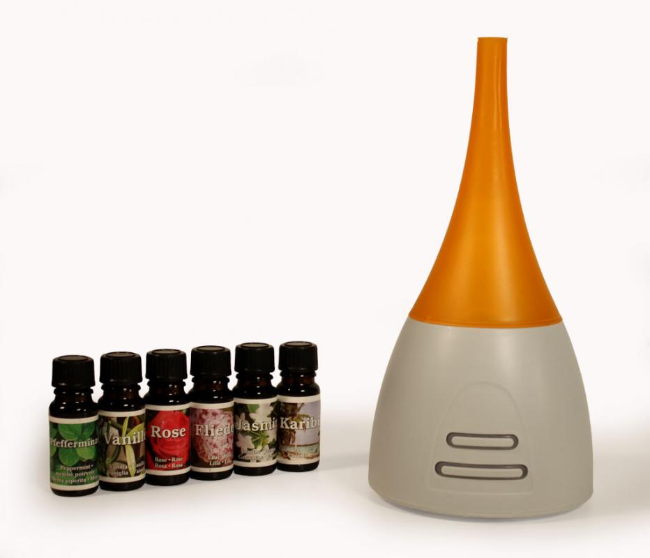Diffuser Aroma Duftlampe Lampe LED Beleuchtung inkl. 6 Duftöle orange
