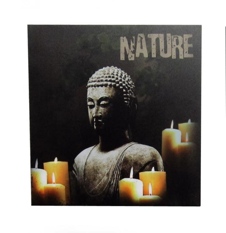 LED Wandbild Buddha Kerzen 40x40cm LED-Bild Nature